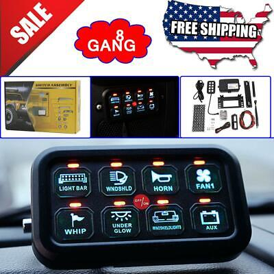 $129.99 • Buy 8 Gang Switch Panel On-Off LED Car Switch Panel Circuit Control Universal 12/24V