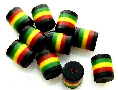 $4.99 • Buy 50 Rasta Jamaica Black Red Green Yellow Striped 9x8mm Round Tube Resin Beads