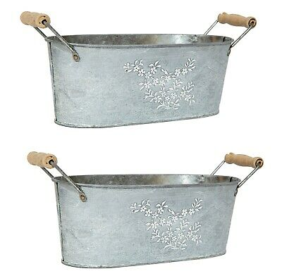 Oval Flower Planter Containers Garden Steel Tin Plant Pot Pail Metal Set Of 2 • 13.99£