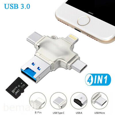 $21.95 • Buy USB 3.0 Flash Drive TF Card Reader Adapter Type C OTG For IPhone Android PC