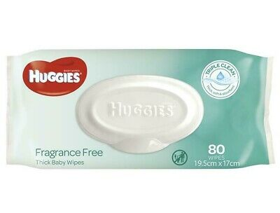 AU12.94 • Buy Thick Huggies Baby Wipes Alcohol And Fragrance Free | 80 Packs