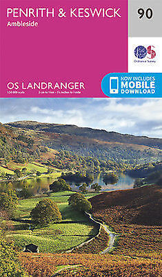 Penrith & Keswick Ambleside Landranger Map 90 Ordnance Survey Latest  • 7.39£