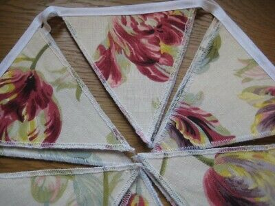 Laura Ashley Gosford Cranberry Fabric Handmade Bunting Double Sided 10 Flags • 19.95£