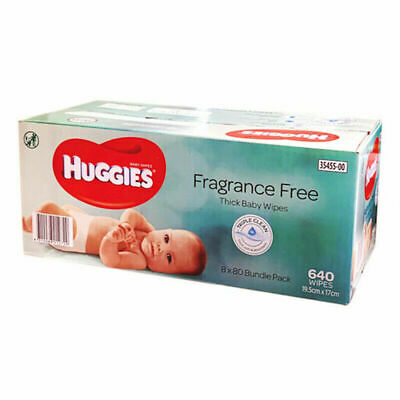 AU78.45 • Buy 640 Thick Huggies Baby Wipes Alcohol And Fragrance Free | 8x 80 Packs