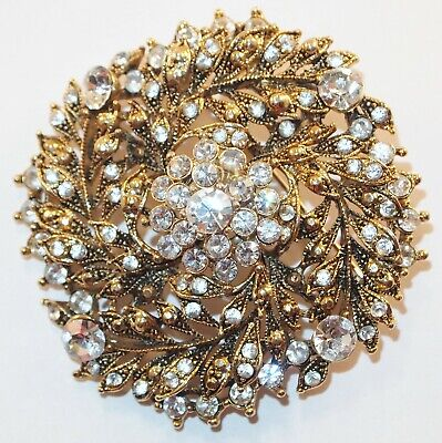 $ CDN28.11 • Buy Vintage Large Goldtone /Lots Of Clear Rhinestones Dome Layered Leaves Brooch Pin