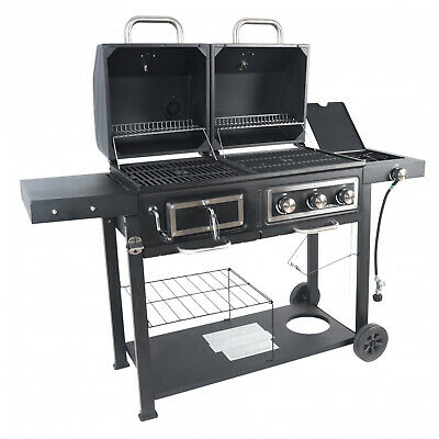 $242.87 • Buy Heavy Duty Dual Fuel Gas Charcoal Combo Grill BBQ Barbecue Smoker Outdoor Cooker