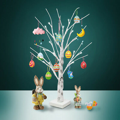 60CM White Easter Birch Tree LED Light Up Christmas Twig Tree Hanging Eggs Decor • 13.11£