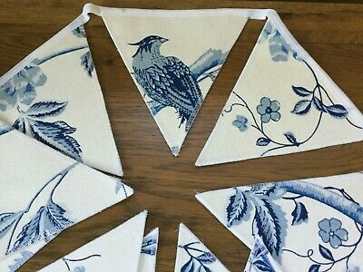 Summer Palace Royal Blue Handmade Bunting Laura Ashley 10 Double Sided Flags • 19.95£