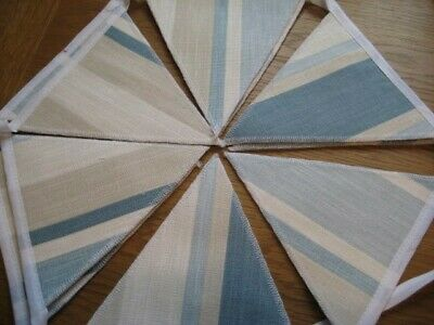 Laura Ashley Awning Stripe Seaspray Blue Handmade Bunting 10 Double Sided Flags • 19.95£