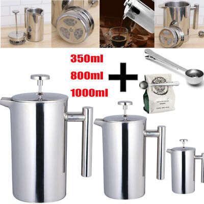 Modern Cafetiere French Press Coffee Maker Stainless Steel 3/6/8 Cup Plunger DIY • 15.99£
