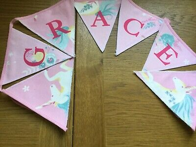 New Unicorns Pink Personalised Laura Ashley Handmade Bunting (price Per Flag) • 2.50£