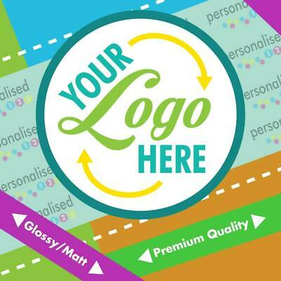 Custom Logo Printed Personalised  Round Stickers Labels Glossy Postage Business • 3.69£