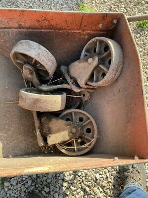 """$399 • Buy 4 Vintage Cast Iron Wheels 8"""" Height Swivel Industrial Casters 8 Inch Antique"""