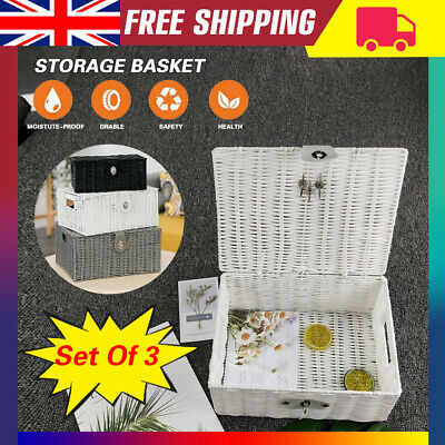 Storage Basket Hamper Resin Woven Set Of 3 (S/M/L)Box With Lid & Lock Case UK • 16.99£