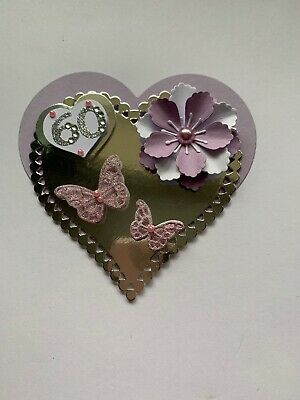 60TH Birthday Flower And Butterfly Heart Card Topper • 1.80£