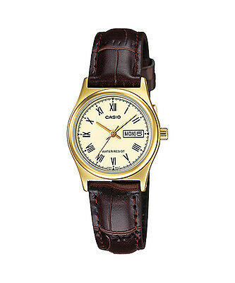 $ CDN29.18 • Buy Casio Women's Brown Leather Strap Watch, Yellow Dial, Day/Date, LTP-V006GL-9B