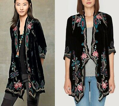 $119.99 • Buy Johnny Was Velvet AVEZA Kimono Duster PXS Embroidered, Open, Glorious Drape!