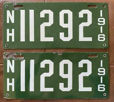 $ CDN372.43 • Buy New Hampshire 1916 PORCELAIN License Plate PAIR - NICE QUALITY # 11292