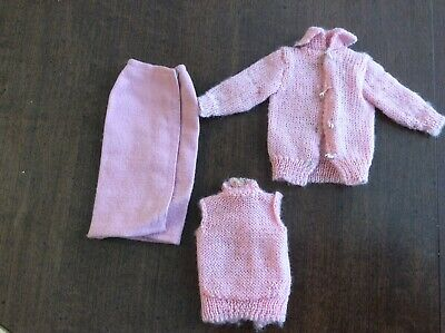 $ CDN24.75 • Buy Vintage BARBIE 1964 Pink Knitting Pretty Outfit 3 Pieces