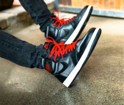 $119.99 • Buy New Nike Air Jordan 1 Retro High Black Satin Gym Red 555088-060