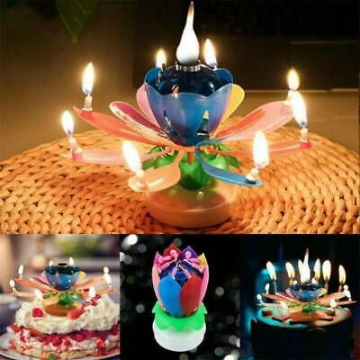 $ CDN5.54 • Buy Musical Birthday Cake Candle Blossom Lotus Flower Floral Rotating Candle
