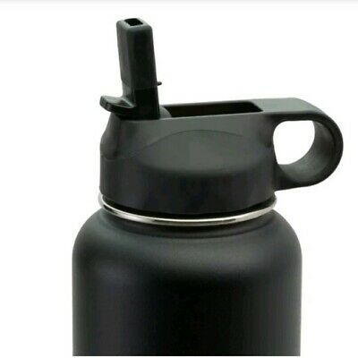 $6.50 • Buy Straw Lid For Hydro Flask Wide Mouth Water Bottle With 2Straws And Brush - Black