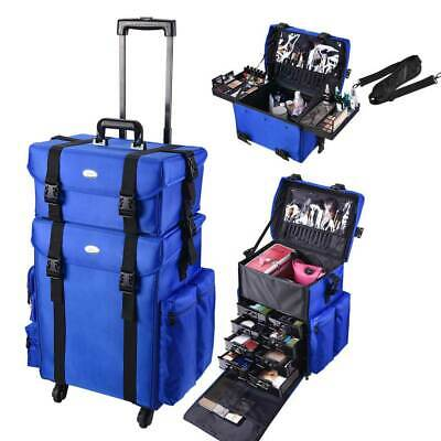 $147.95 • Buy Professional Rolling Makeup Train Case Artist Trolley Soft Sided Storage Blue