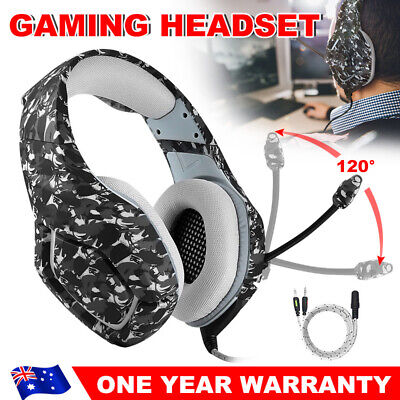 AU38.95 • Buy ONIKUMA K1 Stereo Bass Mic Gaming Headset For PC Laptop PS4 Xbox One Grey Camo