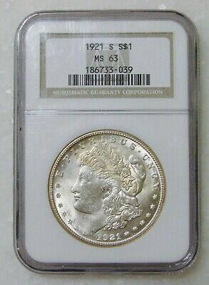 $5.50 • Buy 1921 S - Morgan Silver Dollar - NGC MS 63