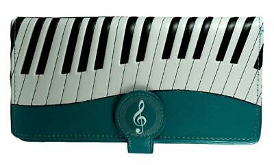 Piano Symphony Teal Leatherette Young Ladies Zipper Purse Wallet • 24.99£
