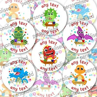 £2.96 • Buy Personalised Dinosaur Stickers ANY TEXT Round Labels Dino Thank You Party Bag