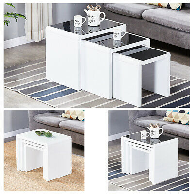 Nest Of 3 Coffee Table High Gloss End Tables With Tempered Glass Top Living Room • 96.99£