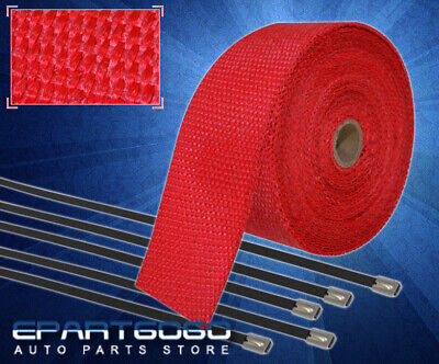 $ CDN30.35 • Buy 30Ft X 2  X1.5mm Heat Wrap Cover Down Pipe Header Exhaust Intake Piping Kit Red