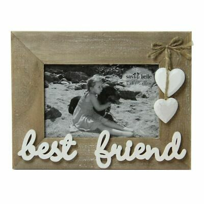 £6.94 • Buy BEST FRIEND WOODEN LANDSCAPE 6x4 FRAME WITH WHITE HEARTS SASS & BELLE