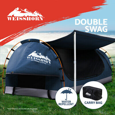 AU179.95 • Buy Weisshorn Double Swag Camping Swags Canvas Free Standing Dome Tent Dark Blue