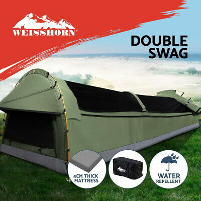 AU207.95 • Buy Weisshorn Double Swag Camping Swags Canvas Tent Deluxe Celadon With Mattress