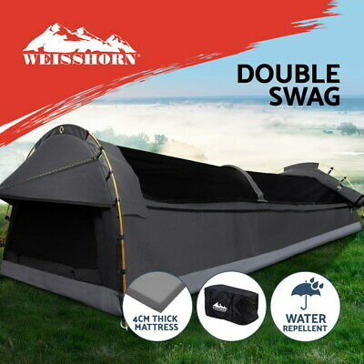 AU200.95 • Buy Weisshorn Double Swag Camping Swags Canvas Tent Deluxe Dark Grey Large Bag