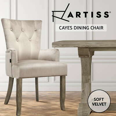 AU109.95 • Buy Artiss Dining Chairs French Provincial Chair Velvet Fabric Timber Retro Camel