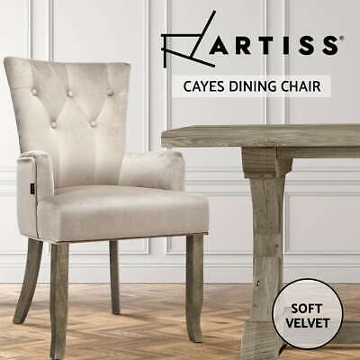 AU125.95 • Buy Artiss Dining Chairs French Provincial Chair Velvet Fabric Timber Retro Camel