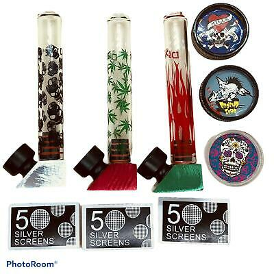 Glass Smoking Pipe With Spare Screen And Plastic Grinder  Brand New Uk Seller Be • 5.25£