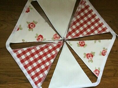 Laura Ashley Bibi Roses Scarlet /gingham Scarlet/white Bunting 10 Flags  • 19.95£