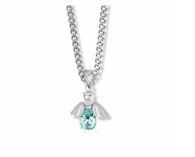 Sterling Silver March Aquamarine Birthstone Angel Necklace & Chain • 42.91£