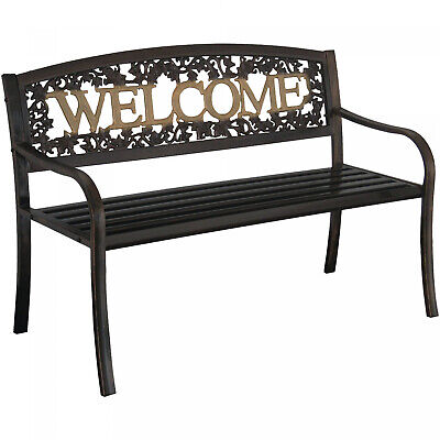 $112.87 • Buy Outdoor Metal Patio Porch Backyard Park Deck Welcome Bench Seat Chair Black Gold