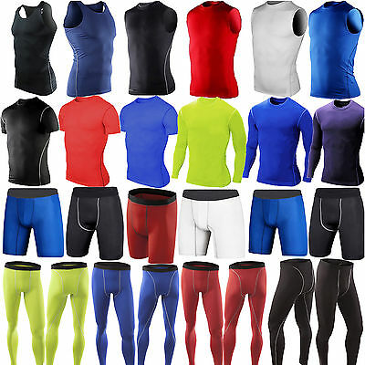 Men Compression Base Layer Skins Gym Sport T-Shirt Tank Top Vest Leggings Shorts • 9.49£