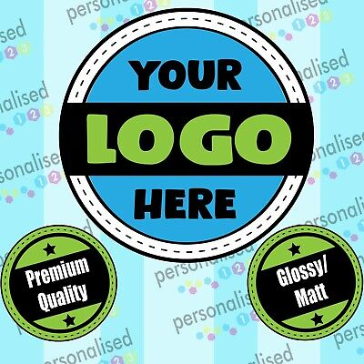 £3.78 • Buy Personalised Logo Stickers Custom Business Labels Round Glossy Printed Address
