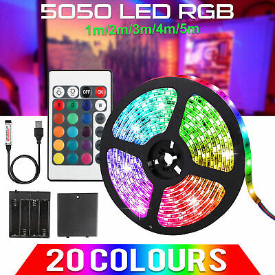 $8.97 • Buy 1-5m RGB 5050 Waterproof LED Strip Light SMD USB+Battery Powered Remote Control