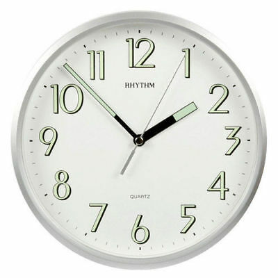 Traditional Rhythm Wall Clock  Super Luminous Silver Case Ideal For Kitchen  • 22.95£