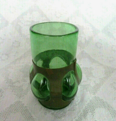 $19.99 • Buy Hand Blown Vase Green Glass Into Copper Casing Armor Overlay~Nice Patina!