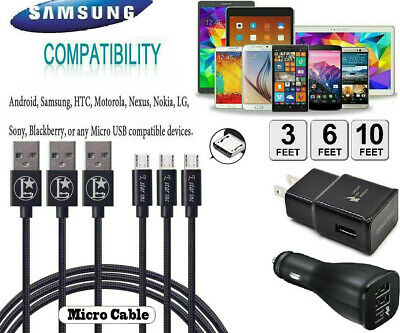 $ CDN6.93 • Buy For Samsung Galaxy J7 S6 S7 Edge 3/6/10Ft HTC Fast Micro USB Cable Charger Cord