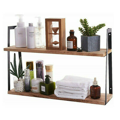 60cm Wall Mounted Wooden Wood Shelves Bookshelf For Bedroom Kitchen Bathroom 2 T • 27.44£